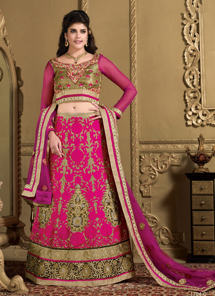 Izabelle Liete Net Patch Work Black & Pink Semi Stitched Patch Work Lehenga