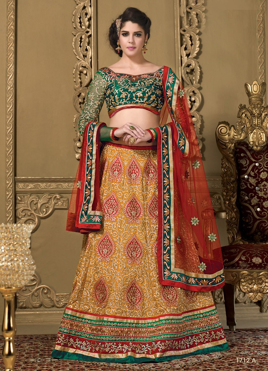 Izabelle Liete Silk Resham Work Multicolour Semi Stitched Resham Work Lehenga