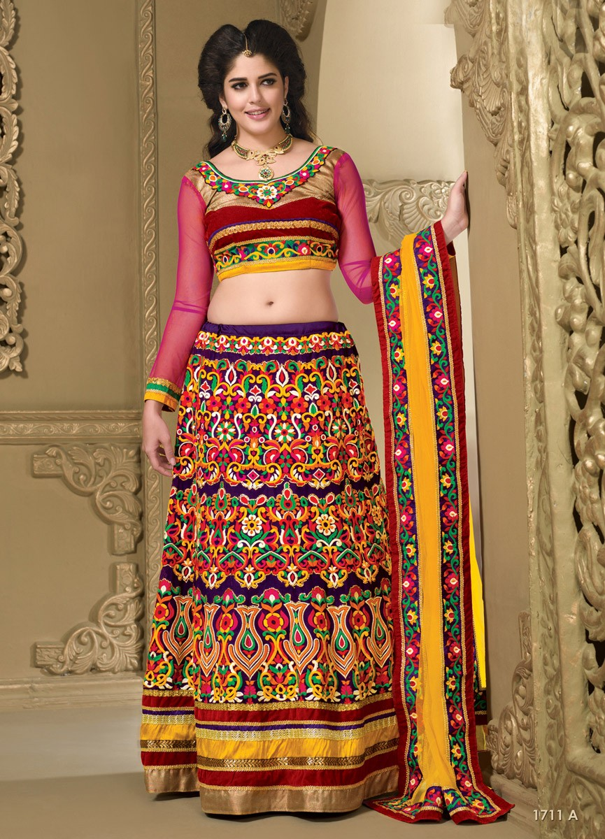 Izabelle Liete Chiffon Machine Work Multicolour Semi Stitched Machine Work Lehenga