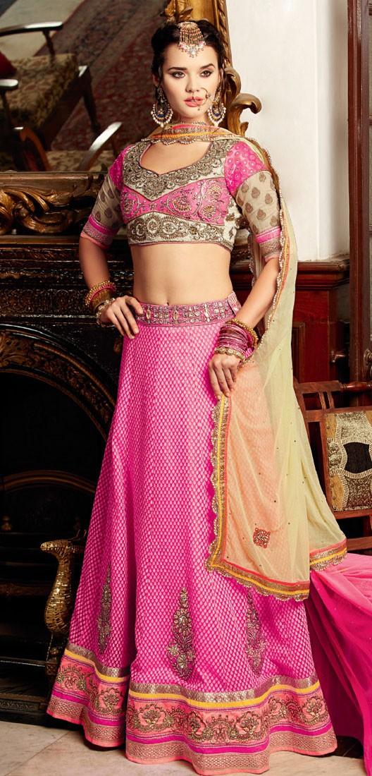 Banarasi Silk Border Work Pink Semi Stitched Lehenga