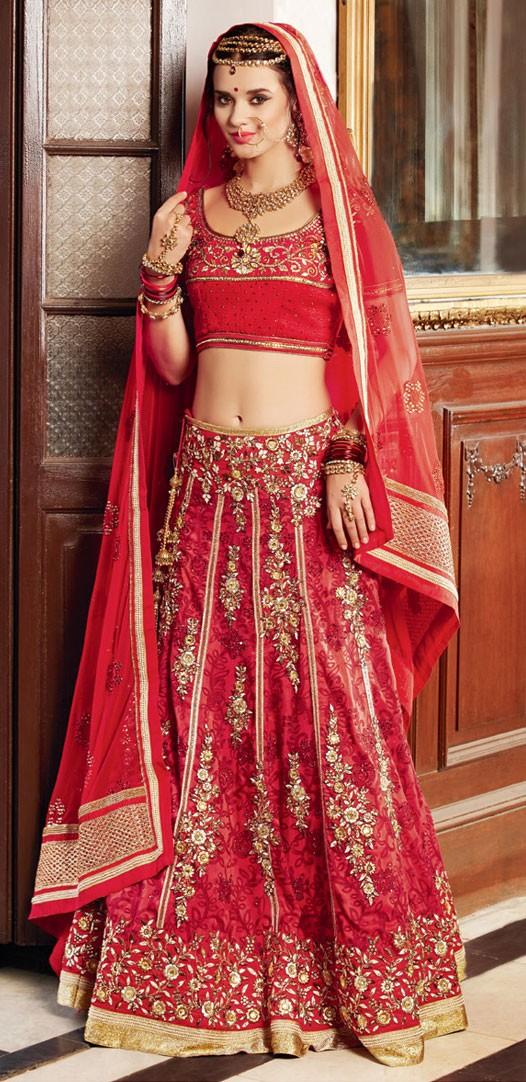 Banarasi Silk Zari & Border Work Red Semi Stitched Lehenga