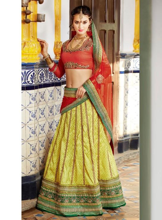 Banarasi Silk Border Work Yellow Semi Stitched Lehenga