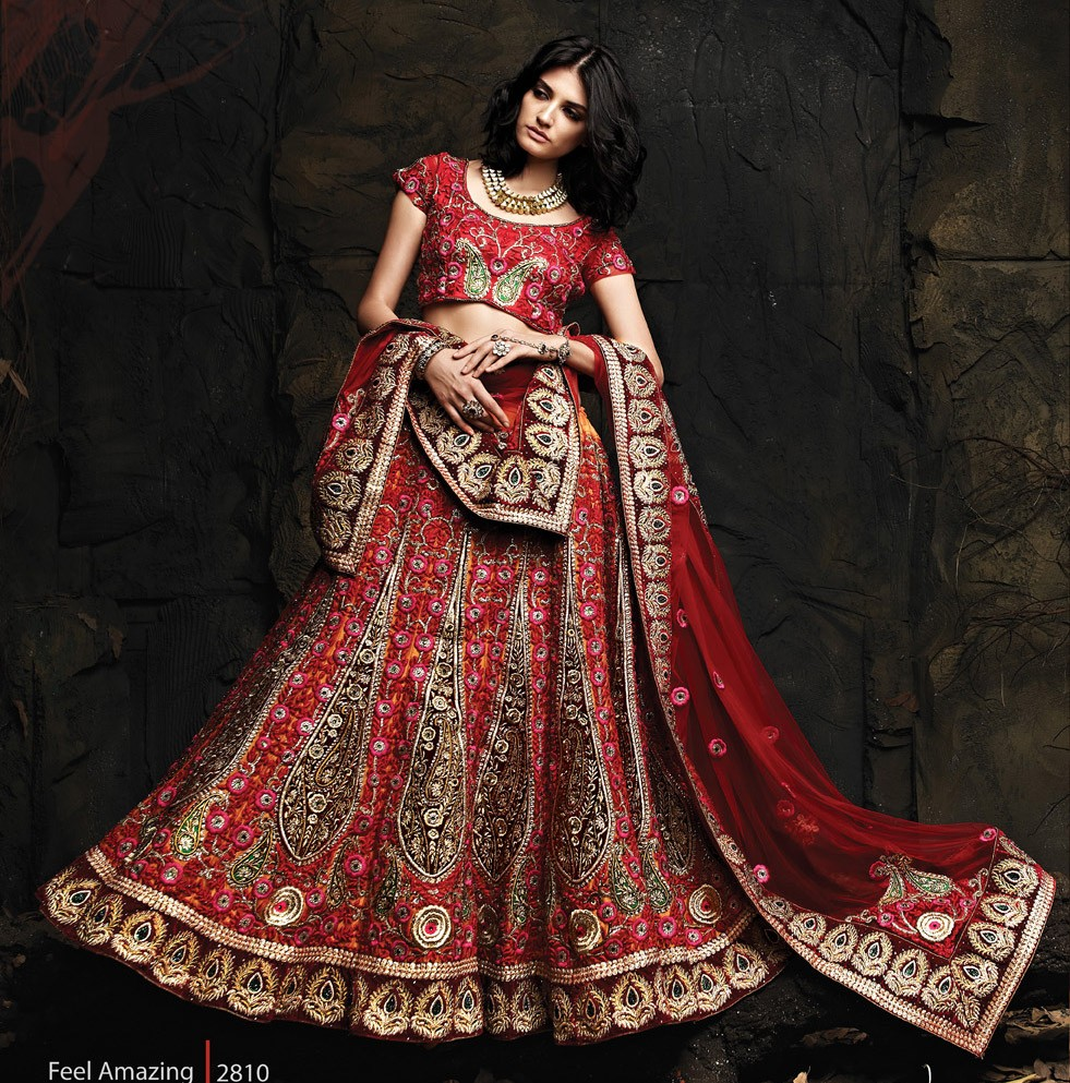 Net Zari & Resham Work Red Semi Stitched Zari Work Lehenga